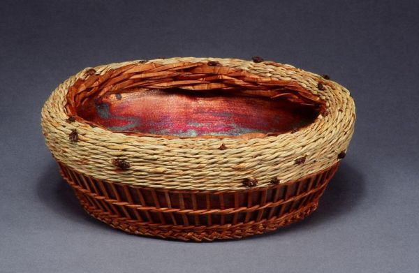 Raku by Wendy Hampton, Weaving by Melinda West
