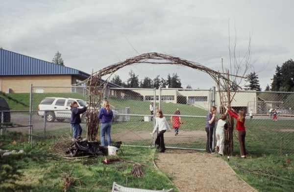 Building a Welcome Arbor at the Suquamish Basket Marsh 2002