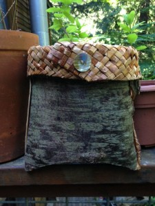 Folded Cedar Bark Pouch with Braided Border and Shell Button