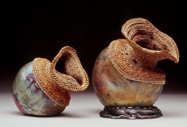 Raku by Wendy Hampton, Weaving by Melinda West