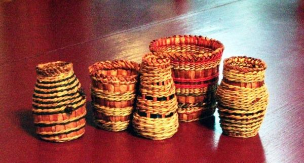 Woven Cedar Bark and Sweetgrass Baskets