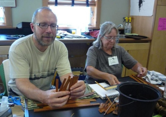 8-4-11 Linda and Dan ready to weave