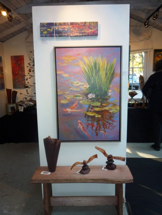 paintings, madrona vase, cedar + stone pieces