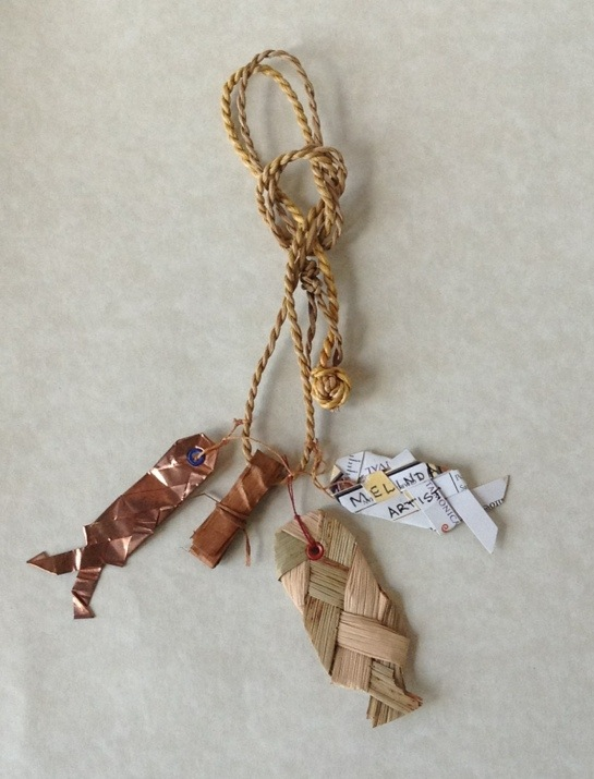 Salmon Necklace woven with copper, cattail, and recycled junk mail