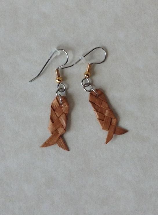 Earrings made with Western red cedar inner bark