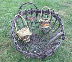 4 baskets of same pattern, but different materials
