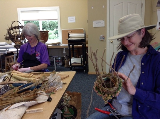 wild Twined Herb and Flower Baskets in progress