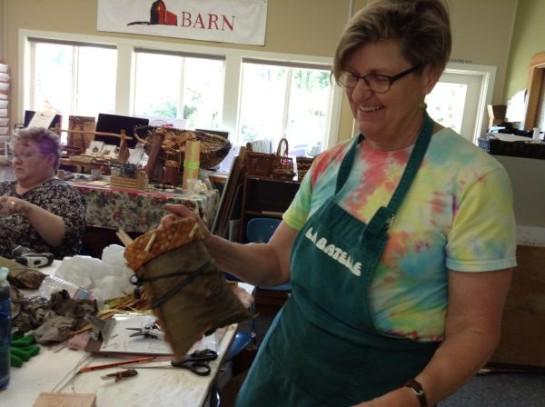 Student makes cedar bark pouch