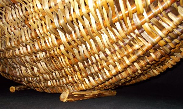 Basket detail of ribbed construction with split cedar limbs and willow feet.