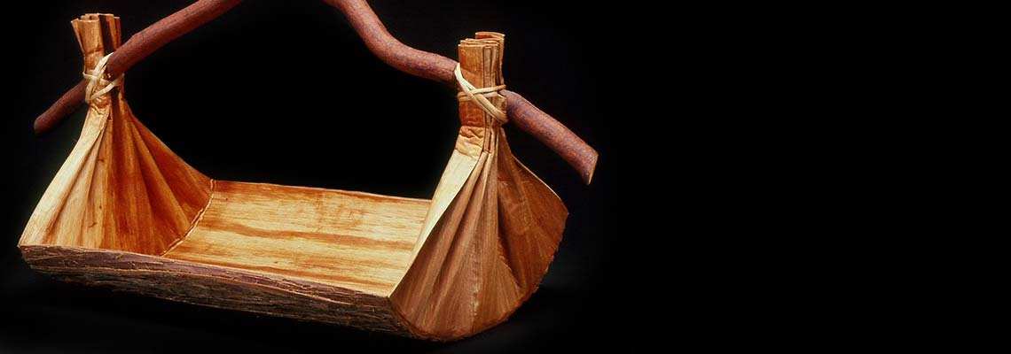 Large Canoe Bailer-Style Vessel made from folded cedar bark