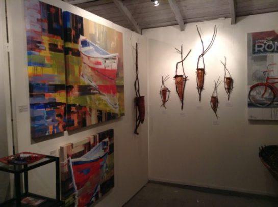 Paintings by Sydni Sterling, Cedar Bark Forms by Melinda West.