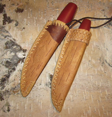 Karen Sherwood Birch Bark Knife Sheath with Swedish Knife
